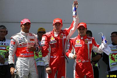 Kimi Raikkonen celebrates pole in Magny Cours